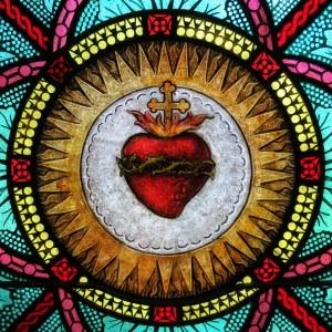 All_Saints_Catholic_Church_(St._Peters,_Missouri)_-_stained_glass,_sacristy,_Sacred_Heart_detail
