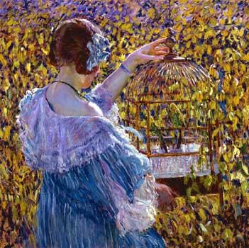 frederick carl frieseke the bird cage new-britain-1910